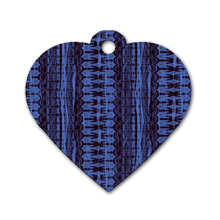 Wrinkly Batik Pattern   Blue Black Dog Tag Heart (One Side)