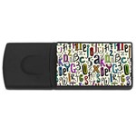 Colorful Retro Style Letters Numbers Stars USB Flash Drive Rectangular (4 GB) Front