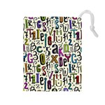 Colorful Retro Style Letters Numbers Stars Drawstring Pouches (Large)  Front