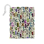 Colorful Retro Style Letters Numbers Stars Drawstring Pouches (Large)  Back