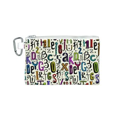 Colorful Retro Style Letters Numbers Stars Canvas Cosmetic Bag (S)