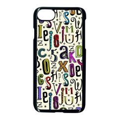Colorful Retro Style Letters Numbers Stars Apple Iphone 7 Seamless Case (black)