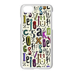 Colorful Retro Style Letters Numbers Stars Apple Iphone 7 Seamless Case (white)