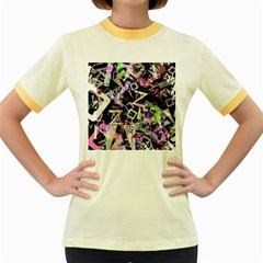 Chaos With Letters Black Multicolored Women s Fitted Ringer T-Shirts