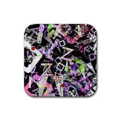 Chaos With Letters Black Multicolored Rubber Coaster (Square)