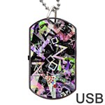 Chaos With Letters Black Multicolored Dog Tag USB Flash (One Side) Front