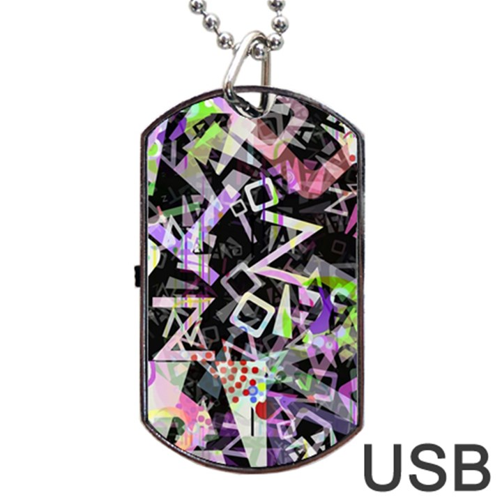 Chaos With Letters Black Multicolored Dog Tag USB Flash (One Side)
