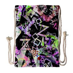 Chaos With Letters Black Multicolored Drawstring Bag (Large)
