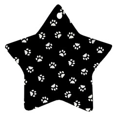 Footprints Cat White Black Star Ornament (Two Sides)