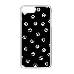 Footprints Cat White Black Apple Iphone 7 Plus White Seamless Case