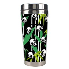 Satisfied And Happy Panda Babies On Bamboo Stainless Steel Travel Tumblers