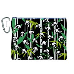 Satisfied And Happy Panda Babies On Bamboo Canvas Cosmetic Bag (XL)