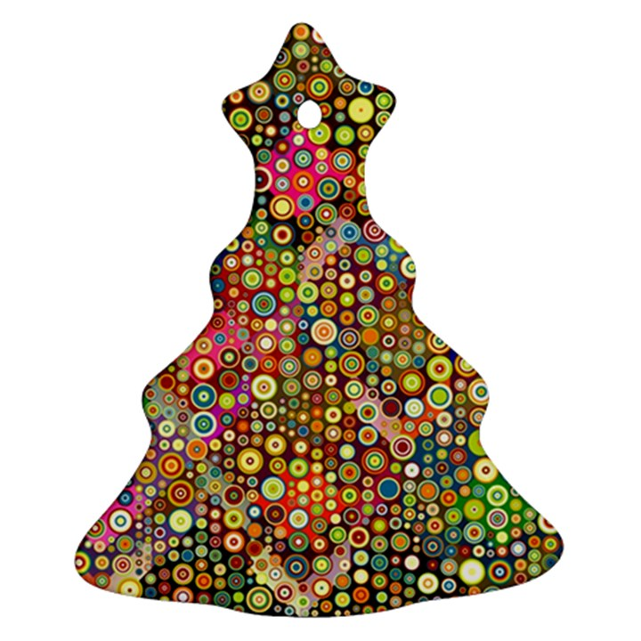 Multicolored Retro Spots Polka Dots Pattern Christmas Tree Ornament (Two Sides)