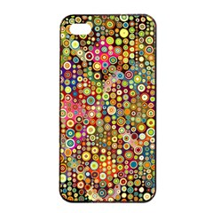 Multicolored Retro Spots Polka Dots Pattern Apple iPhone 4/4s Seamless Case (Black)