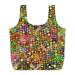 Multicolored Retro Spots Polka Dots Pattern Full Print Recycle Bags (L)