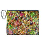 Multicolored Retro Spots Polka Dots Pattern Canvas Cosmetic Bag (XL) Front