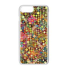 Multicolored Retro Spots Polka Dots Pattern Apple Iphone 7 Plus White Seamless Case