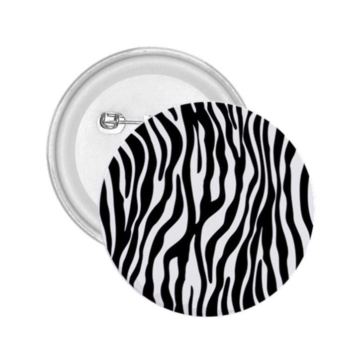 Zebra Stripes Pattern Traditional Colors Black White 2.25  Buttons