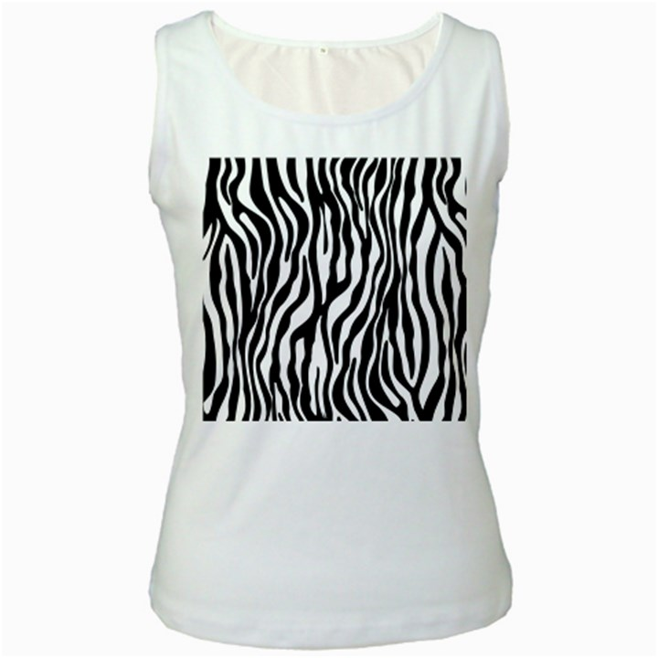 Zebra Stripes Pattern Traditional Colors Black White Women s White Tank Top