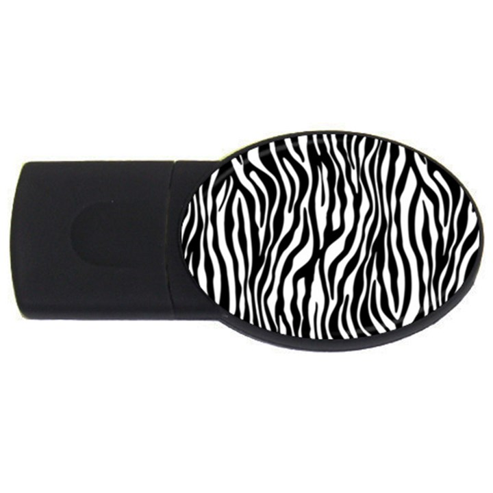 Zebra Stripes Pattern Traditional Colors Black White USB Flash Drive Oval (4 GB)