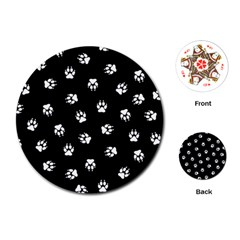 Footprints Dog White Black Playing Cards (Round)