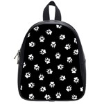Footprints Dog White Black School Bags (Small)  Front
