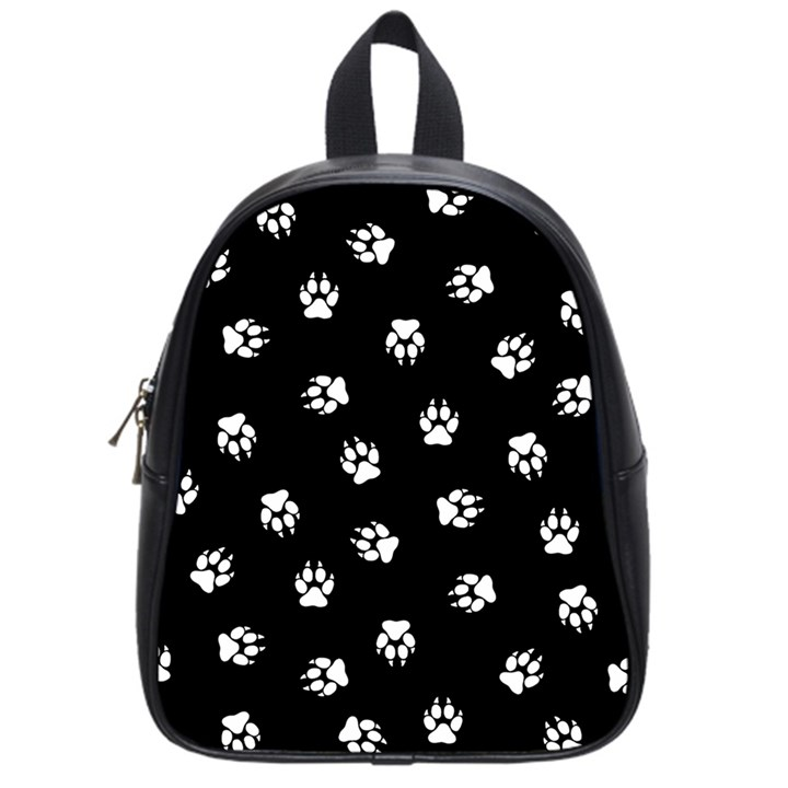 Footprints Dog White Black School Bags (Small)