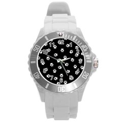 Footprints Dog White Black Round Plastic Sport Watch (l)