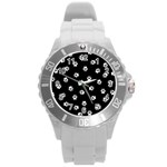 Footprints Dog White Black Round Plastic Sport Watch (L) Front