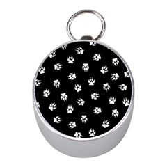 Footprints Dog White Black Mini Silver Compasses