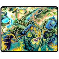 Flower Power Fractal Batik Teal Yellow Blue Salmon Double Sided Fleece Blanket (Medium)