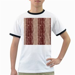Wrinkly Batik Pattern Brown Beige Ringer T-Shirts