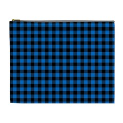 Lumberjack Fabric Pattern Blue Black Cosmetic Bag (xl)