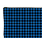 Lumberjack Fabric Pattern Blue Black Cosmetic Bag (XL) Front