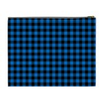 Lumberjack Fabric Pattern Blue Black Cosmetic Bag (XL) Back