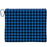Lumberjack Fabric Pattern Blue Black Canvas Cosmetic Bag (XXXL) Front