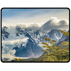 Snowy Andes Mountains, El Chalten Argentina Double Sided Fleece Blanket (Medium)