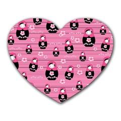 Matryoshka Doll Pattern Heart Mousepads