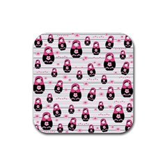 Matryoshka doll pattern Rubber Square Coaster (4 pack)