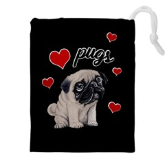 Love pugs Drawstring Pouches (XXL)