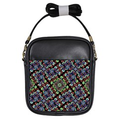 Colorful Floral Collage Pattern Girls Sling Bags