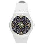 Colorful Floral Collage Pattern Round Plastic Sport Watch (M) Front