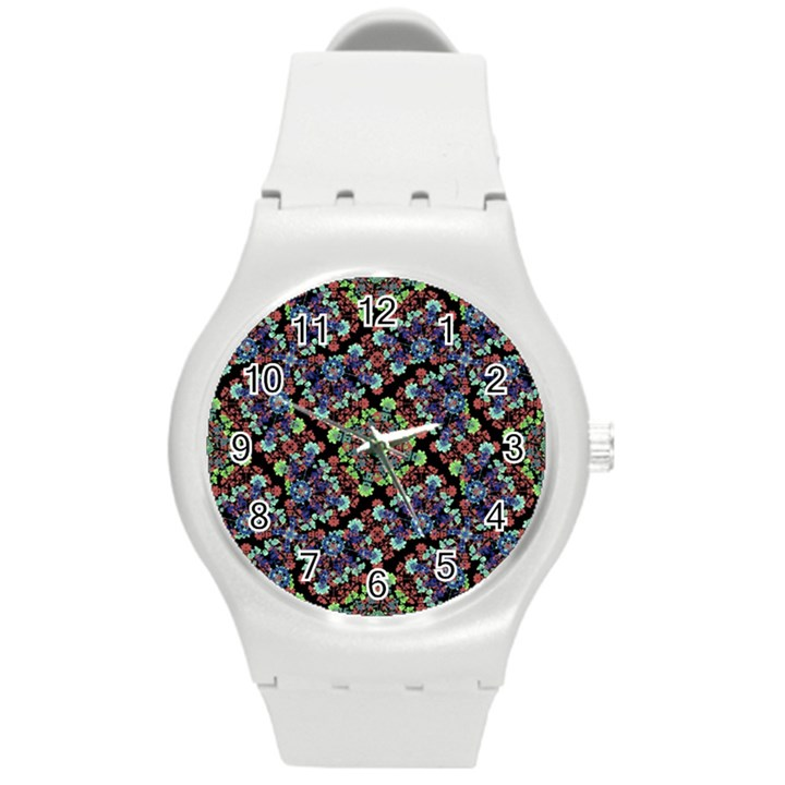 Colorful Floral Collage Pattern Round Plastic Sport Watch (M)