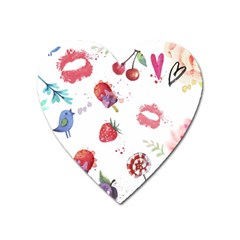 Hand Painted Summer Background  Heart Magnet