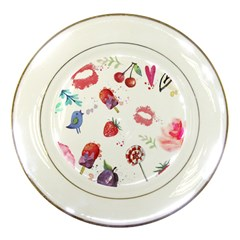 Hand Painted Summer Background  Porcelain Plates