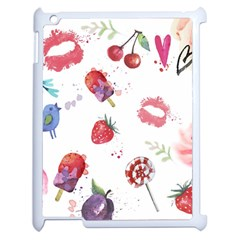 Hand Painted Summer Background  Apple Ipad 2 Case (white)