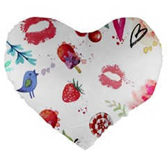 Hand Painted Summer Background  Large 19  Premium Heart Shape Cushions