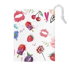 Hand Painted Summer Background  Drawstring Pouches (extra Large)