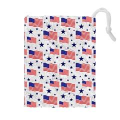 Flag Of The Usa Pattern Drawstring Pouches (extra Large)
