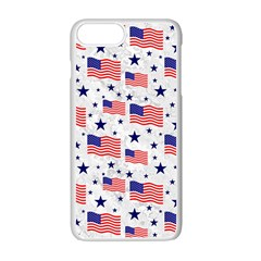 Flag Of The Usa Pattern Apple Iphone 7 Plus White Seamless Case